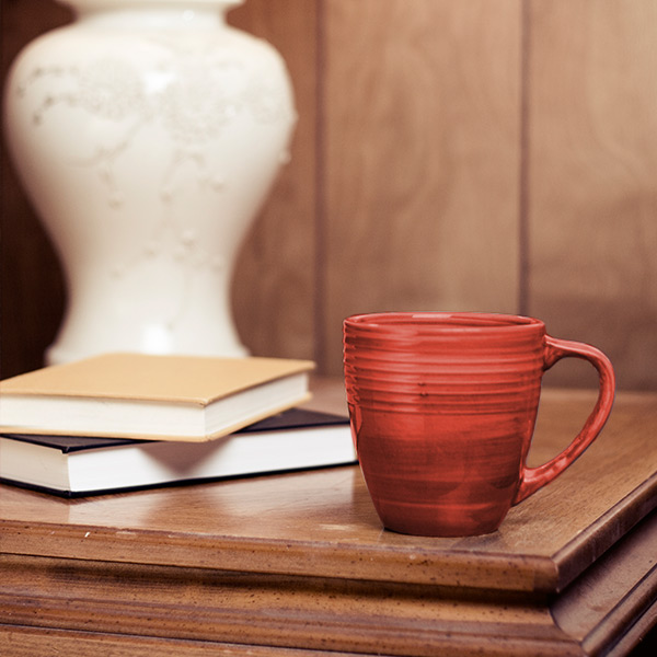 Books and coffee mug